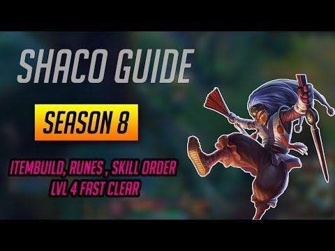Shaco Guide S8 Diamond 2 (Runes, Items, Skill Order, Jungle Paths)