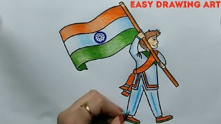 how to draw man holding indian flag poster || how to draw independence day drawing