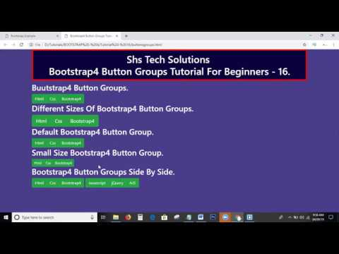 Bootstrap4 Tutorial For Beginners - 16 | Bootstrap4 Button Groups Tutorial |