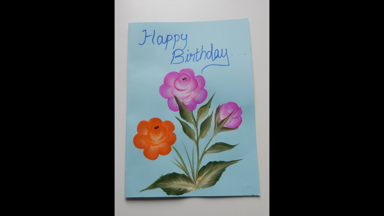 e stroke painting greeting card
