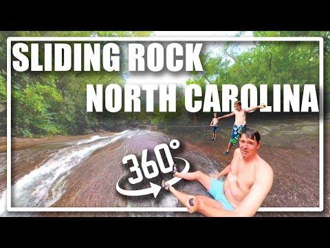 360 VR Fun And Danger At Sliding Rock, North Carolina Natural Waterslide