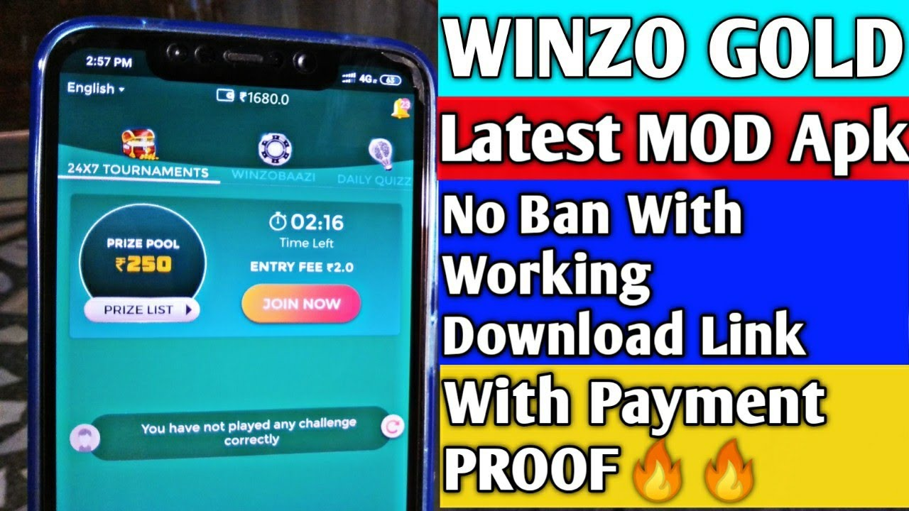 WINZO GOLD MOD Apk | No Ban With Working Download Link | With Payment  PROOF🔥🔥