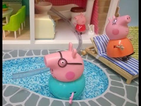 Bajka Świnka Peppa po polsku. Peppa nalewa wody do basenu