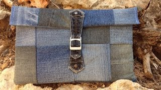 Laptop/ Ipad Sleeve aus Jeans Patchwork