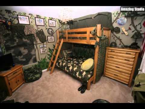 Etagenbett Zubehör Setup : Camouflage jungen zimmer mit etagenbetten youtube