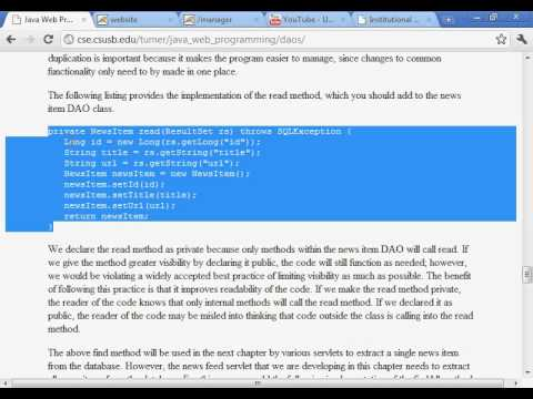 java web programming with eclipse data access objects youtube