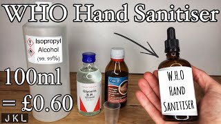 Diy video on how to make alcohol hand gel sanitiser using the who approved recipe that you can follow at home. final percentage is 75% which above...