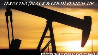 Texas Tea (black & Gold) Country French Tip Nail Art Tutorial (2-min) By Fonda
