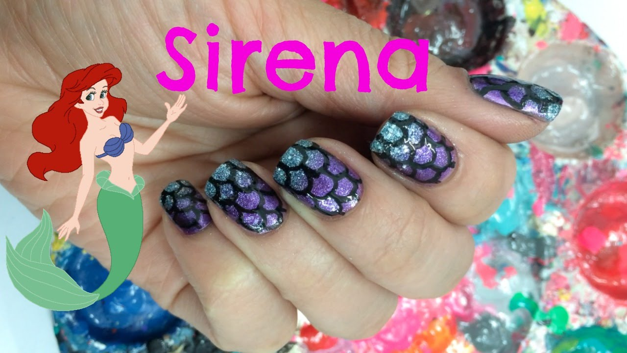 Decoracion de uñas Sirena - Little Mermaid Nail Art - YouTube
