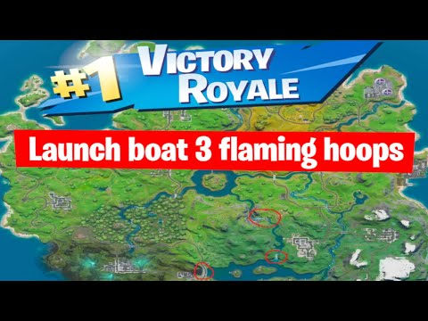 Jump Boat Through Three Flaming Hoops/Rings Fortnite Challenge - No Nonsense Chapter 2