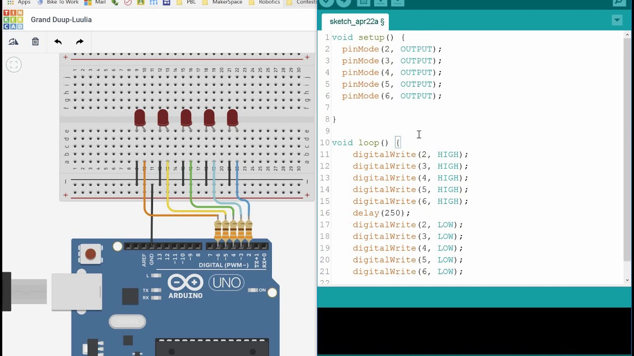 Blockly Arduino Tutorial - 5 LED Sequence
