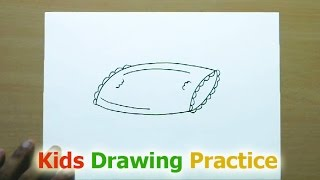 How to Draw a Pillow | Easy Step by Step Drawing for Kids | Kids drawing practice