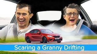 Hilarious - my 70 year old mom reacts to BMW M2 drifting... then tries to drift herself!