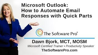 Microsoft Outlook: How to Automate Email Responses with Quick Parts in Outlook; Outlook Tips