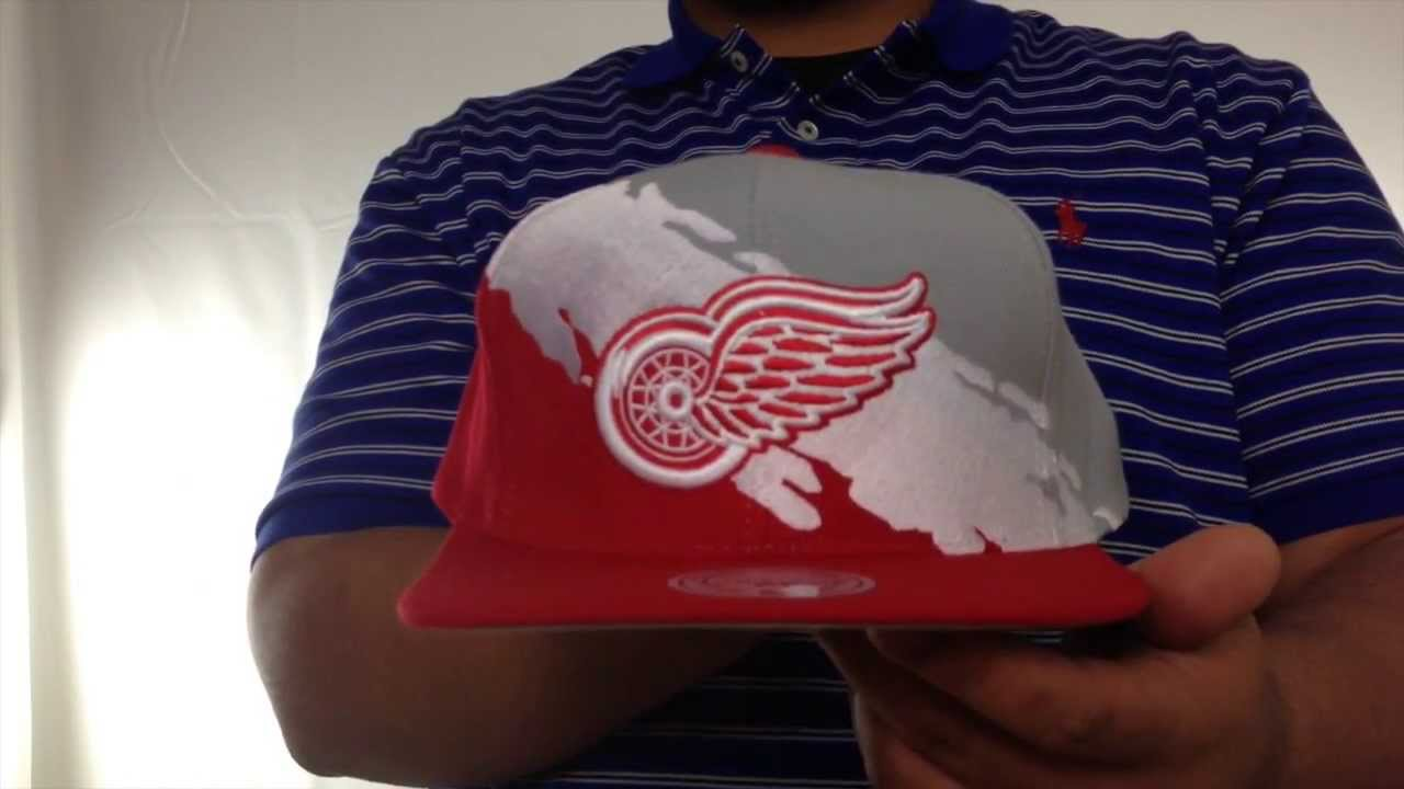 4179860803b Red Wings  PAINTBRUSH SNAPBACK  Grey-White-Red Hat by Mitchell   Ness