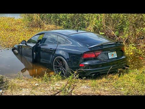 Нашли Audi A7 утопленную в болоте с крокодилами