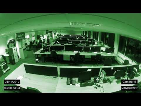 Manchester office Ghost caught on CCTV, Full lenghth. Amazing ghost video