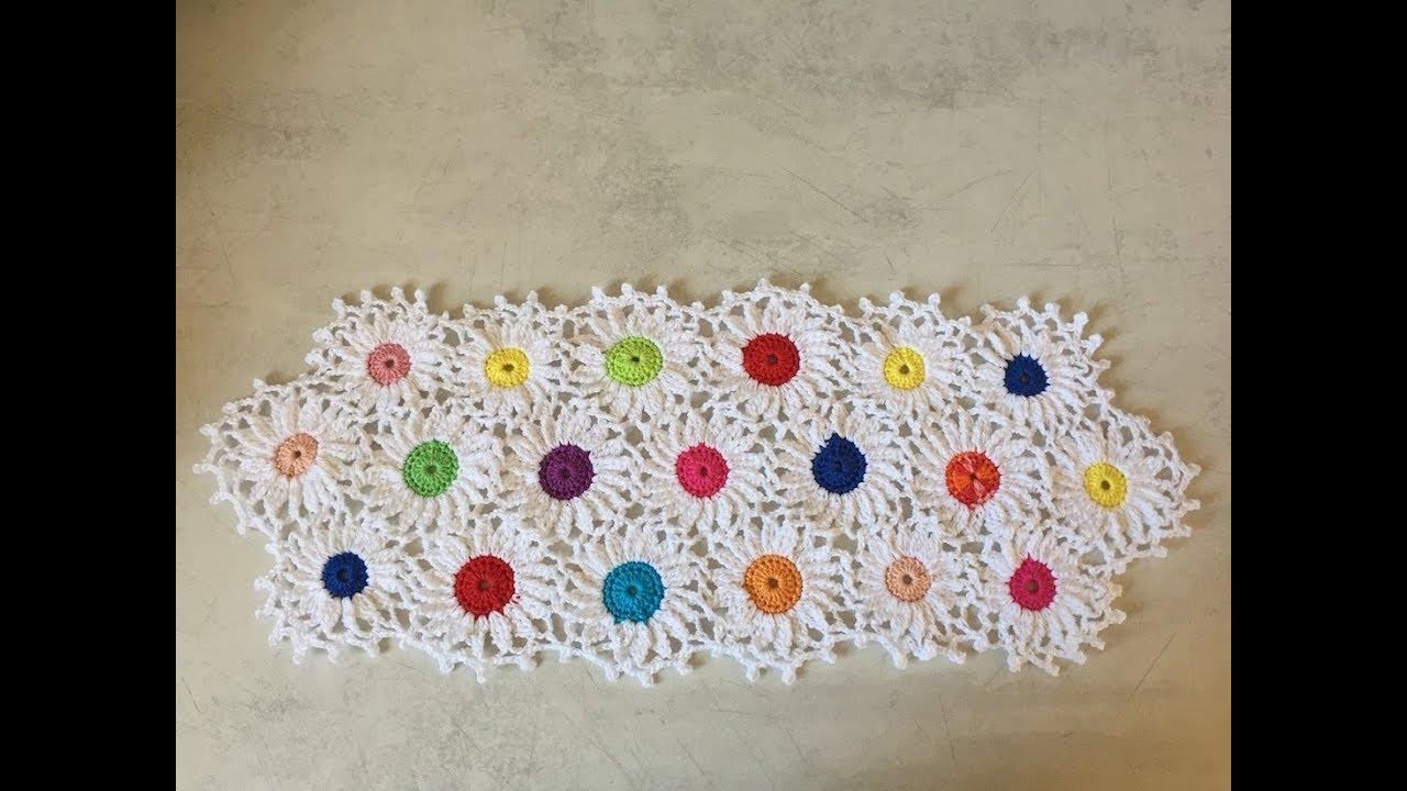 Tuto chemin de table marguerite au crochet youtube - Napperon crochet chemin de table ...