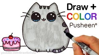 How to Draw + Color Pusheen Cat step by step Easy Cute Cartoon Cat