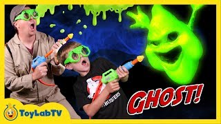 get slimed ghost chaser vs messy slime ghosts t rex dinosaur w toys in real life fun kids video