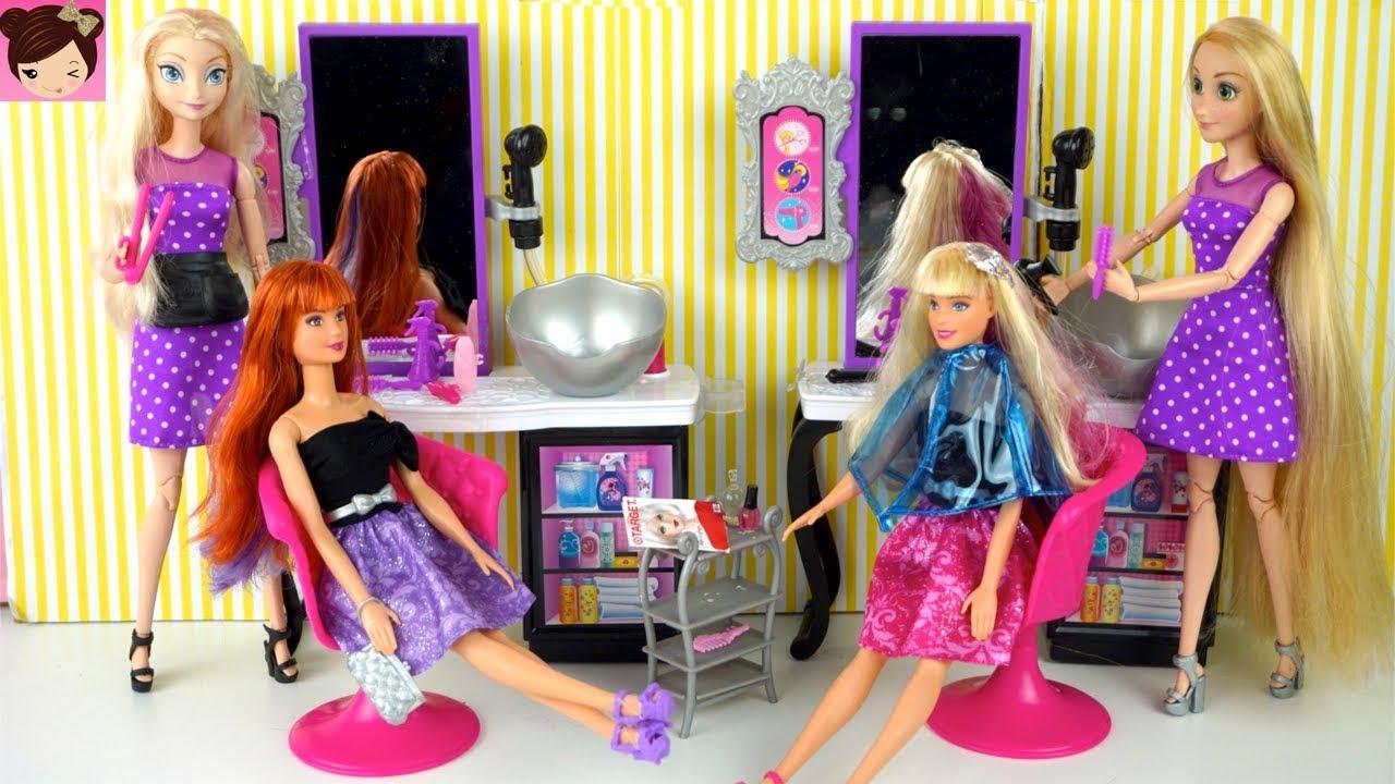 Elsa Rapunzel Barbie Beauty Salon Doll Hair Wash Diy