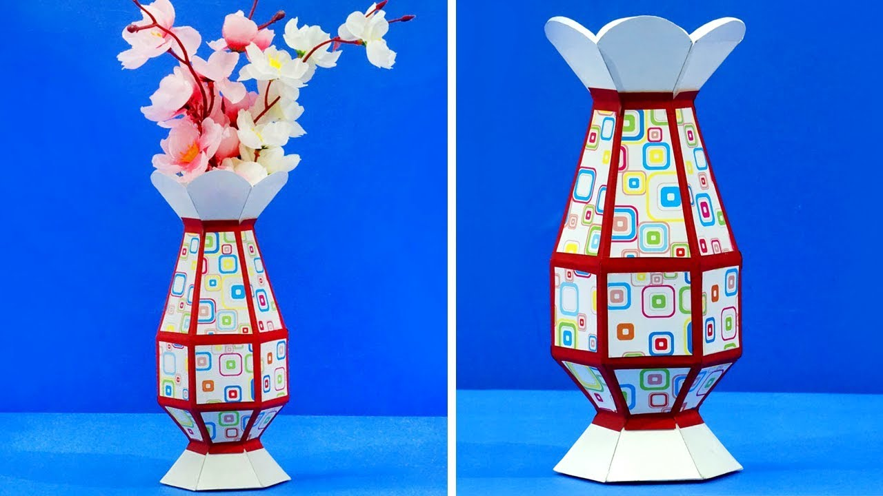 diy paper crafts how to make paper vase from template step by