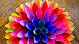 Объемный цветок из бумаги /////// Volume flower paper(Как сделать объемный цветок из бумаги своими руками для декора или еще для чего-то? МАСТЕР КЛАСС ! Цветы..., 2015-11-04T13:35:01.000Z)