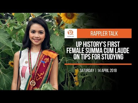 Rappler Talk: UP History's first female summa cum laude  on tips for studying