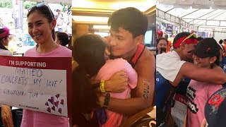 Sarah Geronimo hugs Matteo Guidicelli at Ironman 2017 finish line