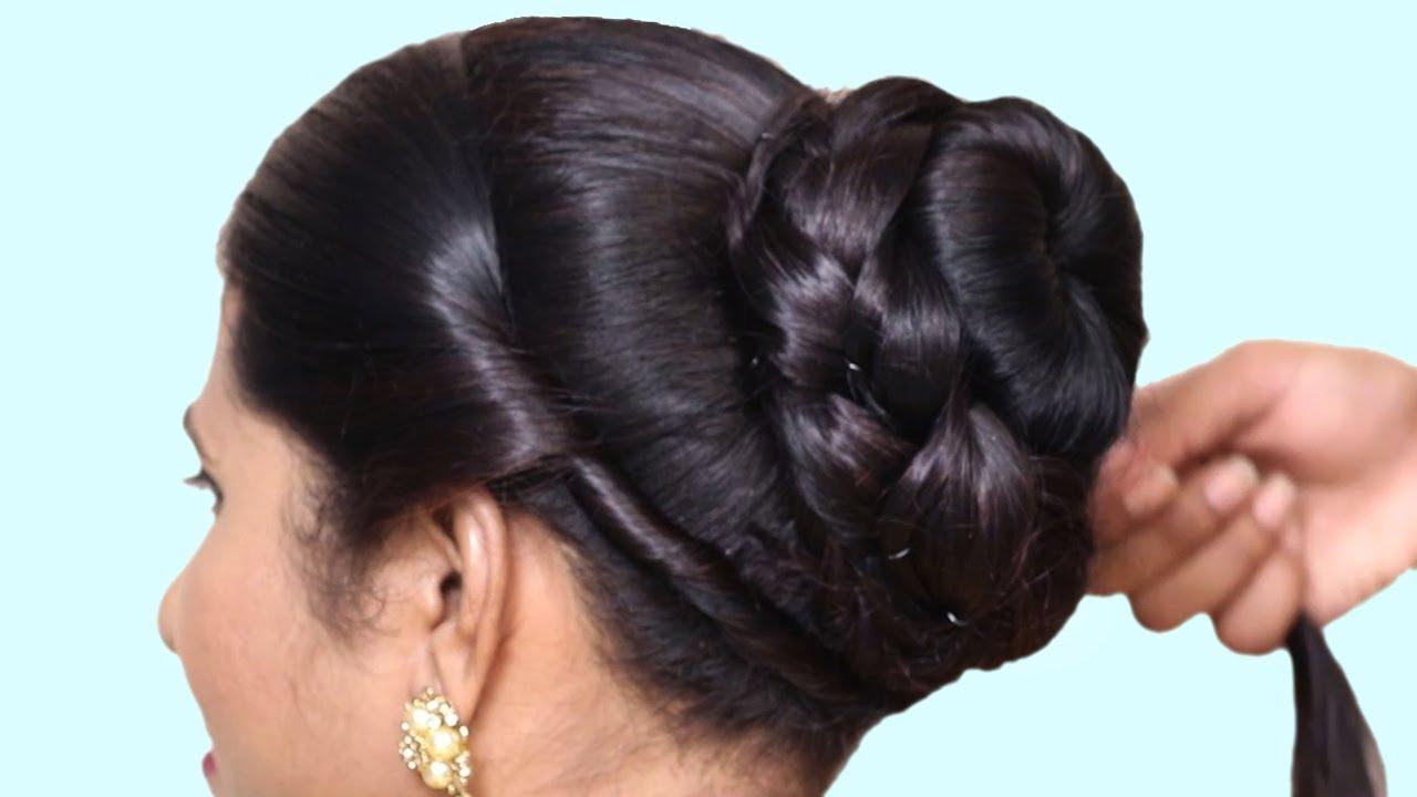 simple bun hairstyle wedding party