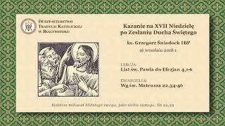 O MIŁOŚCI I NIENAWIŚCI – ks. Grzegorz Śniadoch IBP – 16 września 2018 r.