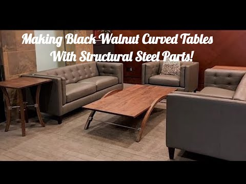 Black Walnut CoffeeEnd Tables With Curves Stainless Steel - Stainless steel table parts