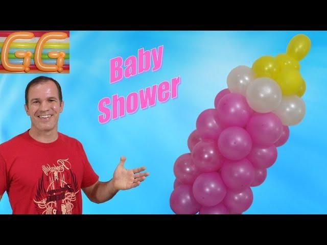 como hacer un biberon con globos - mamila o mamadera con globos - decoración para baby shower niña