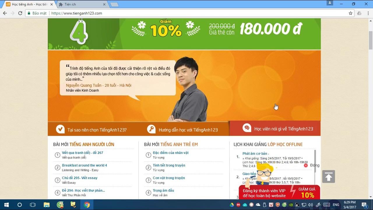 Chia sẻ tài khoản Tienganh123.com Tháng 10 - 11/2017