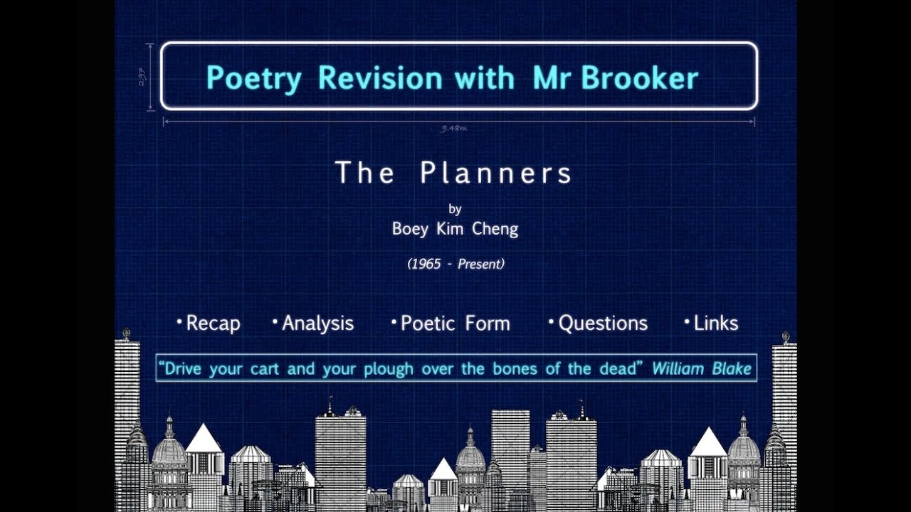 "the planners boey kim cheng analysis Free essay: the planners the poet of the poem ""the planners"", boey kim  cheng, uses many techniques, including but not limited to an."