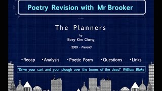 """""""The Planners"""" by Boey Kim Cheng - Poetry Revision with Mr Brooker"""