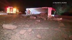 Dump Truck Crash Causes Morning Back-Up / Diamond Bar   RAW FOOTAGE