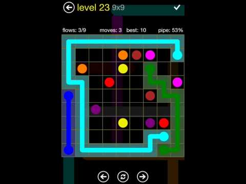 Flow Free 9X9 walkthrough level  23