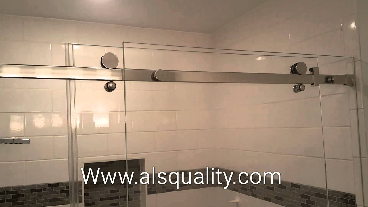 & Serenity Custom frameless sliding shower door enclosure crl - YouTube Pezcame.Com