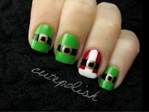 Santa And Elf Suit Nail Art