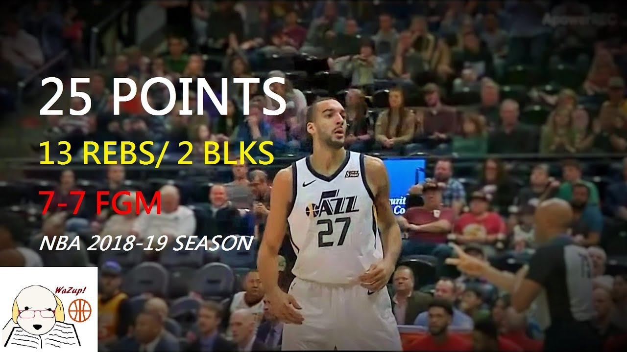 cheap for discount 8bfc1 685ec Rudy Gobert 25 PTS  13 REB  2 BLK Full Highlights   Jazz vs Hawks 2019.2.1  NBA Season
