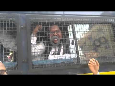 BJP Sarkar Murdabad.in Police Van.Mumbai.