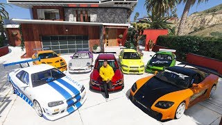 GTA 5 - Stealing Fast and Furious Cars with Franklin! (Real Life Cars #10)