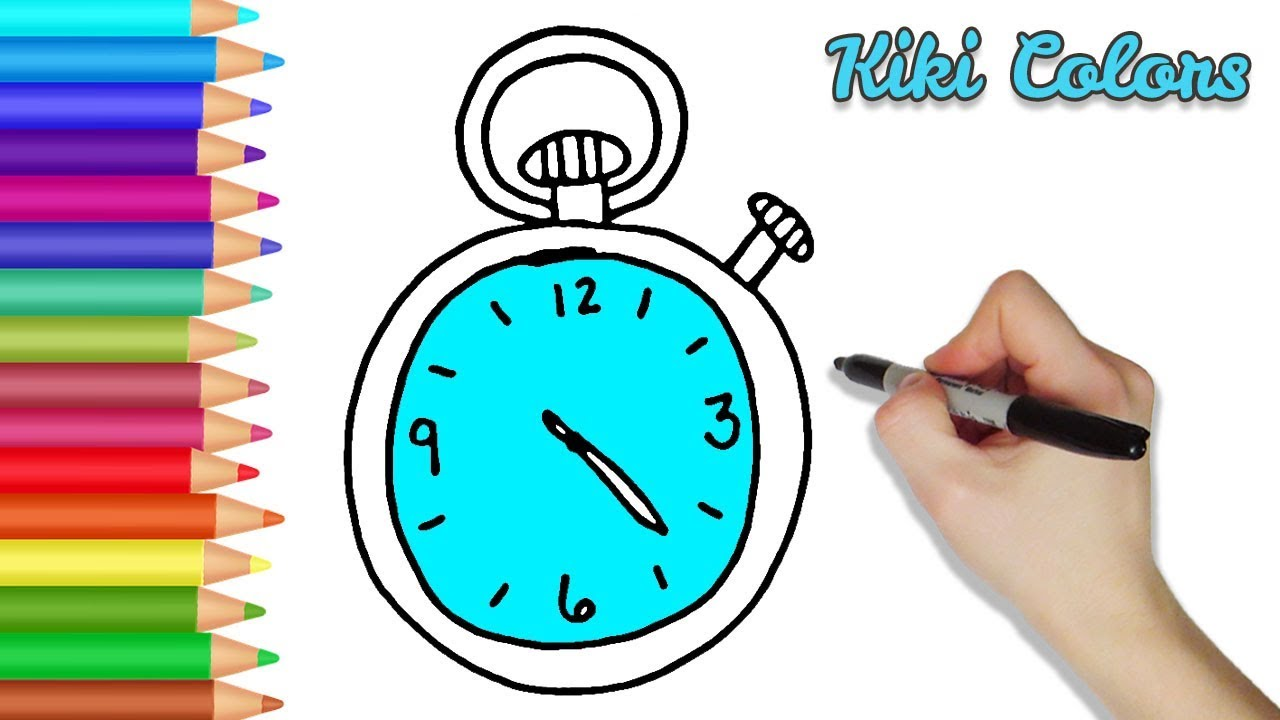 How to Color Stop Watch | Teach Drawing for Kids and Toddlers ...