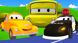 Tom The Tow Truck and Matt the police car in Car City | Cars & Trucks construction cartoon