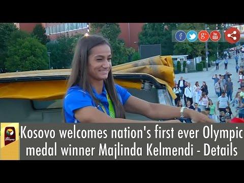 Kosovo's first ever Olympic medal winner Majlinda Kelmendi gets hero's welcome
