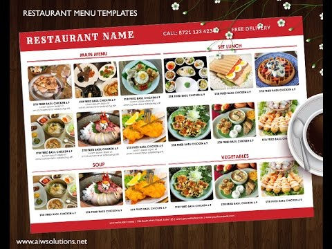how to create food menu restaurant menu with images youtube
