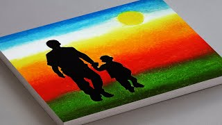 FATHER'S DAY DRAWING WITH OIL PASTEL | FATHERS DAY CARD PAINTING | FATHER AND CHILD SCENERY DRAWING