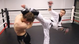 Taekwondo vs Muay Thai 2014 | Martial Arts Fight Scene (Real Contact Hits)(A Taekwondo fighter (Kwonkicker) goes up against a Muay Thai fighter (Shane Fazen) in this martial arts fight scene, produced by Fight Tips. Starring, Directed ..., 2014-03-10T15:00:06.000Z)