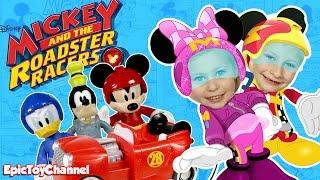 MICKEY ROADSTER RACERS Disney Junior Surprise Toys Race vs Blaze and Monster Machines + Disney Cars